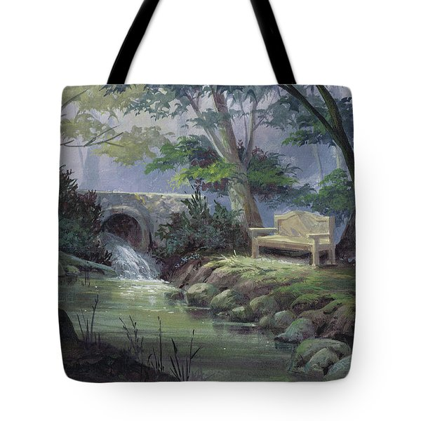 Tote Bag featuring the painting Small Falls Descanso by Michael Humphries