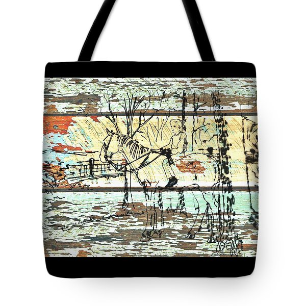 Tote Bag featuring the drawing His First Horse  by Larry Campbell