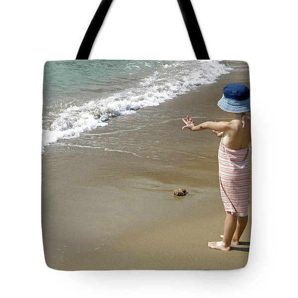 Small Girl Wearing A Summer Hat Tote Bag