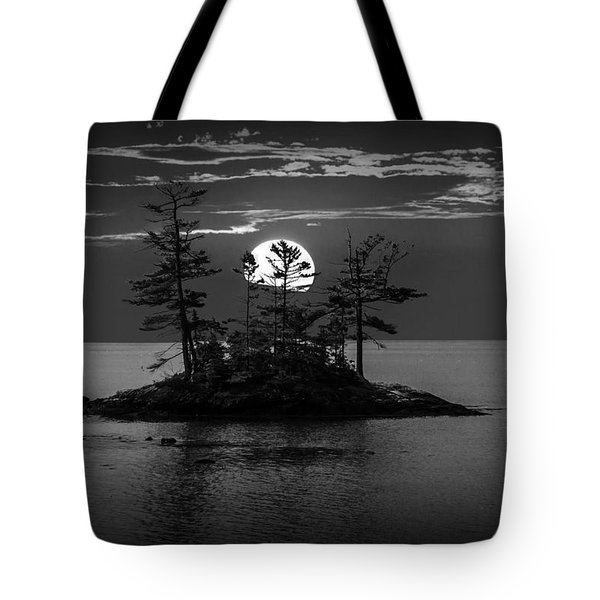 Small Island At Sunset In Black And White Tote Bag