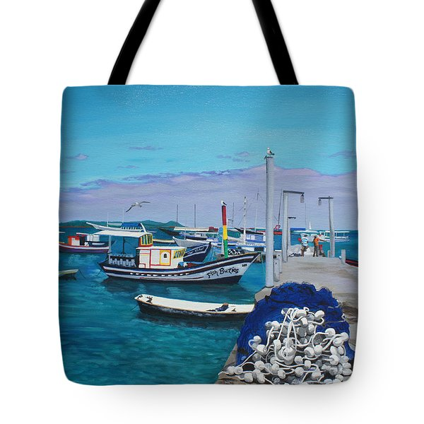 Small Pier In The Afternoon-buzios Tote Bag by Chikako Hashimoto Lichnowsky