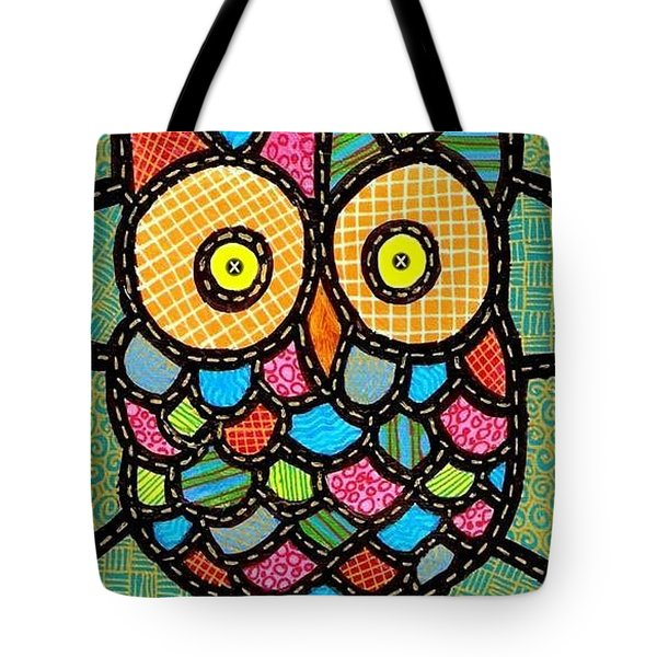 Small Quilted Owl Tote Bag by Jim Harris