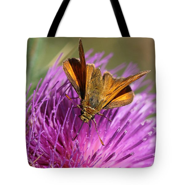 Tote Bag featuring the photograph Small Skipper - Thymelicus Sylvestris by Jivko Nakev