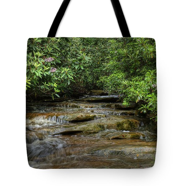 Small Stream In West Virginia With Mountain Laurel Tote Bag by Dan Friend