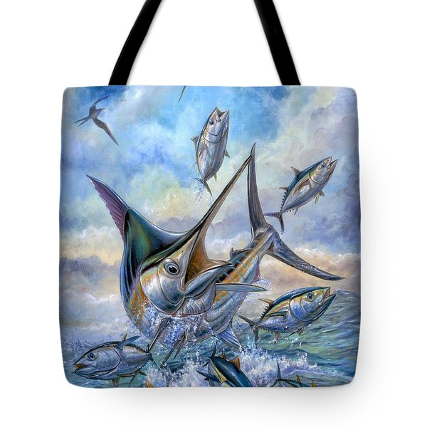 Small Tuna And Blue Marlin Jumping Tote Bag