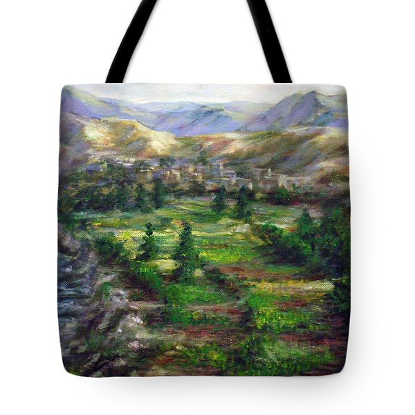 Tote Bag featuring the painting Village In The Mountain  by Laila Awad Jamaleldin