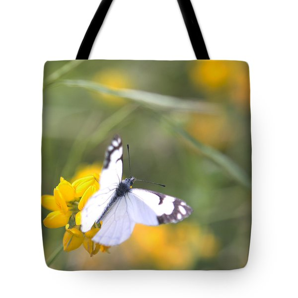 Tote Bag featuring the photograph Small White Butterfly On Yellow Flower by Belinda Greb
