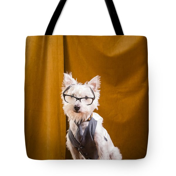 Small White Dog Wearing Glasses And Vest Tote Bag by Edward Fielding
