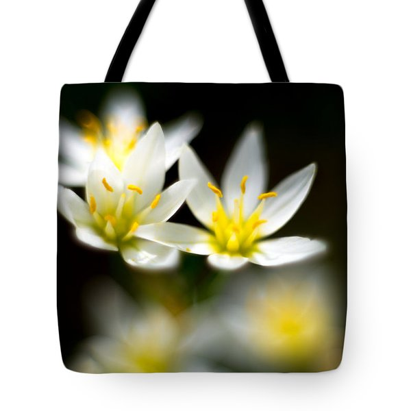 Small White Flowers Tote Bag by Darryl Dalton