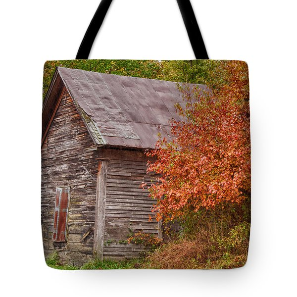 Tote Bag featuring the photograph Small Wooden Shack In The Autumn Colors by Jeff Folger