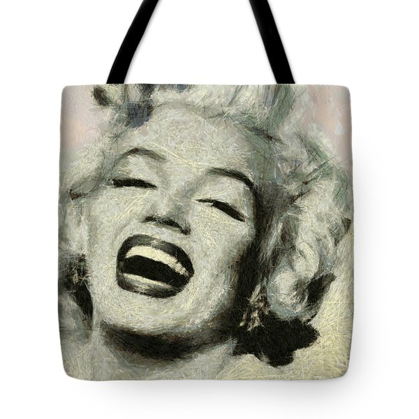 Smile Marilyn Monroe Black And White Tote Bag by Georgi Dimitrov