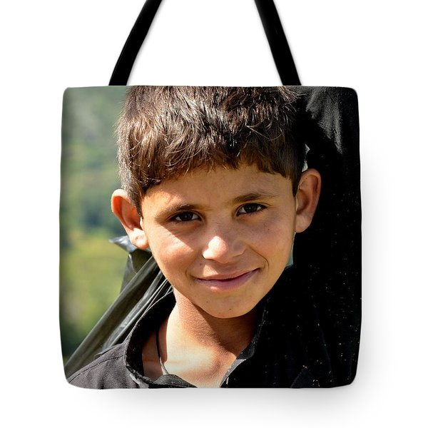 Tote Bag featuring the photograph Smiling Boy In The Swat Valley - Pakistan by Imran Ahmed