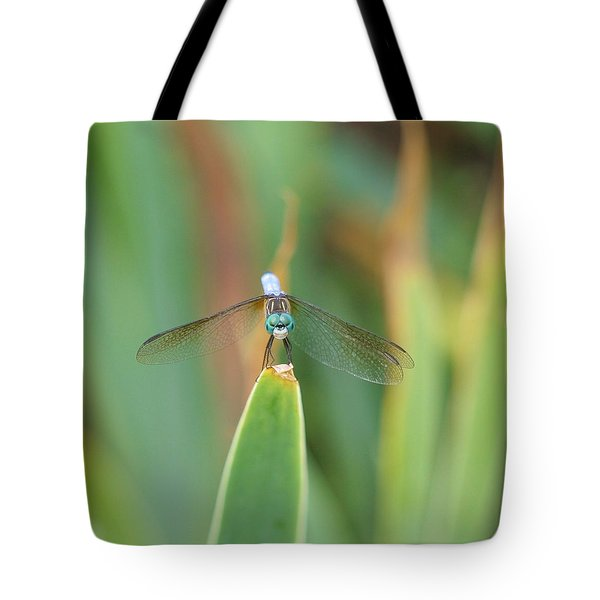 Smiling Dragonfly Tote Bag by Karen Silvestri