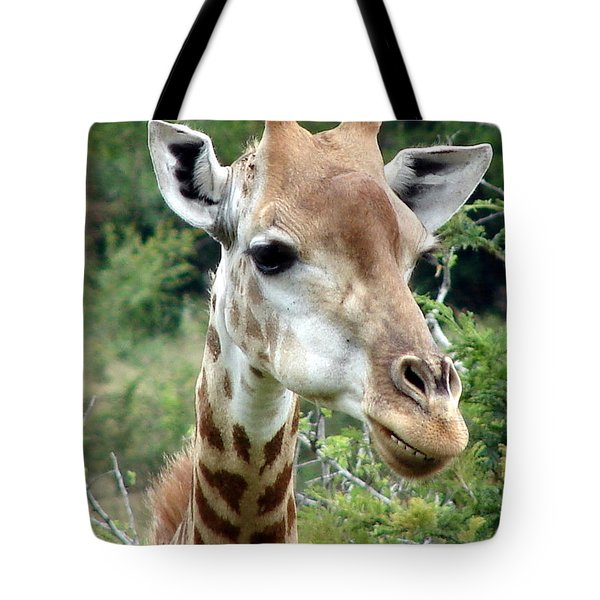 Smiling Giraffe Tote Bag by Ramona Johnston