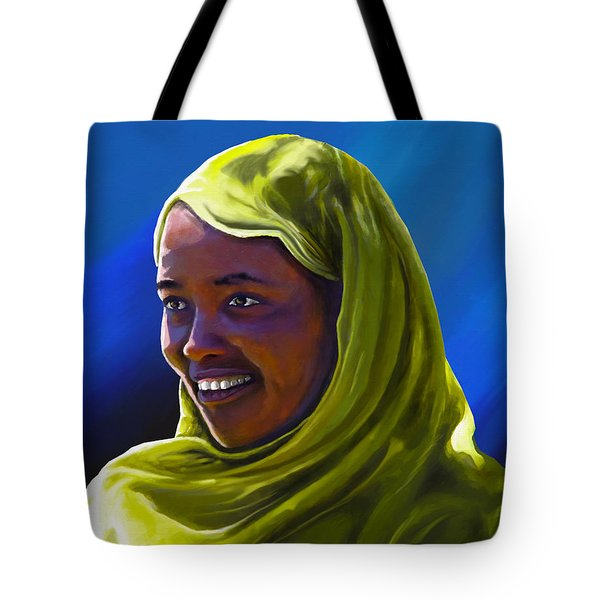 Tote Bag featuring the painting Smiling Lady by Anthony Mwangi