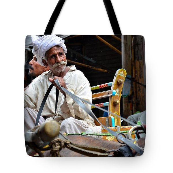 Smiling Man Drives Horse Carriage In Lahore Pakistan Tote Bag