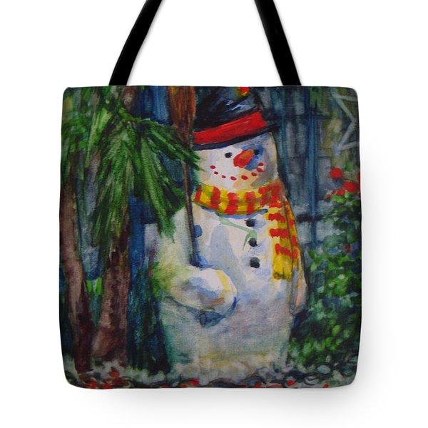 Smiling Snowman Tote Bag
