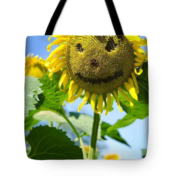 Smiling Sunflower Tote Bag by Donna Doherty
