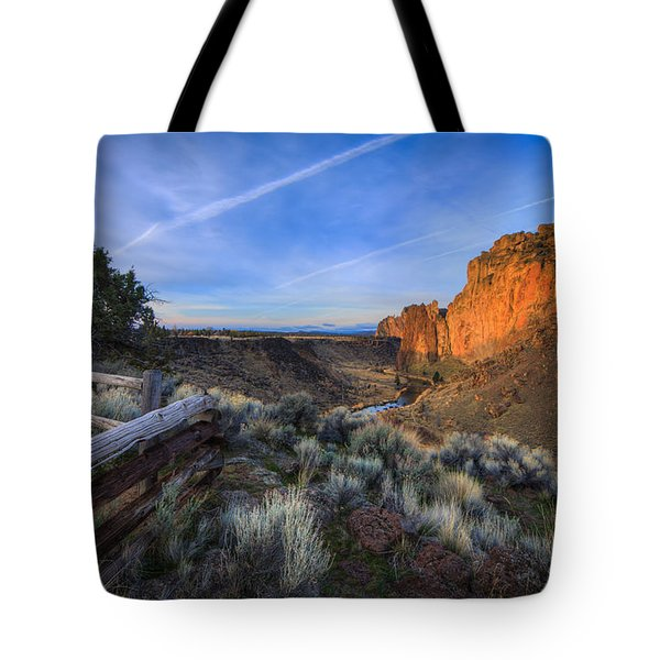 Smith Rock At Sunrise Tote Bag