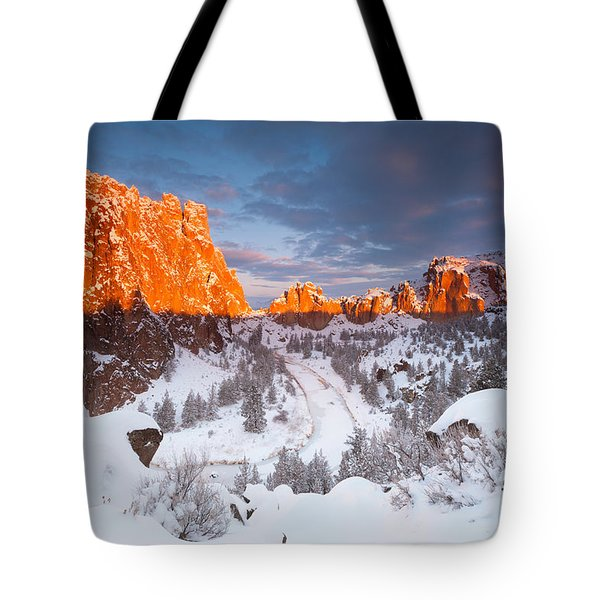 Smith Rock Snow Storm Tote Bag