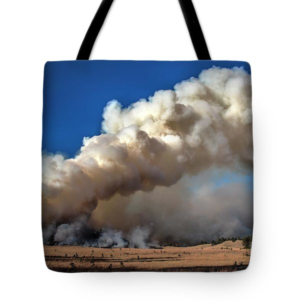 Smoke Column From The Norbeck Prescribed Fire. Tote Bag