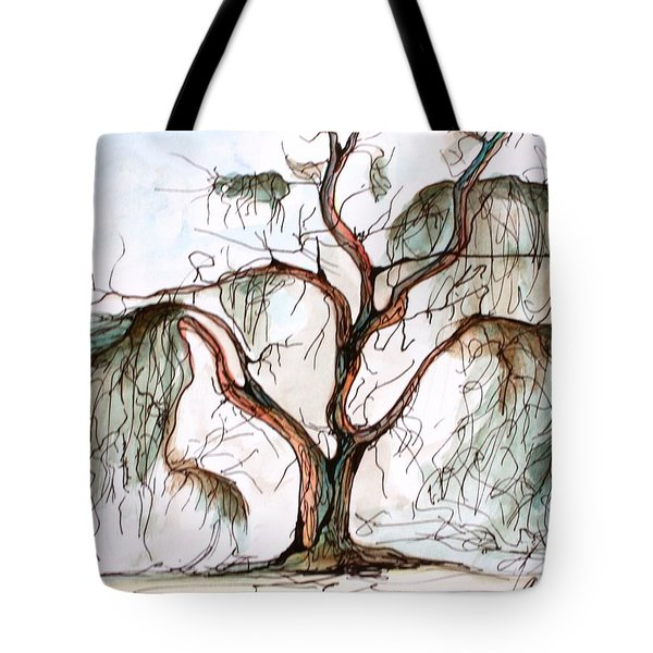 Tote Bag featuring the painting Smoke Tree by Pat Purdy