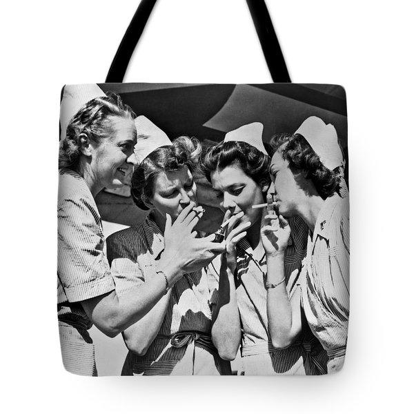 Smoking Army Nurses Tote Bag