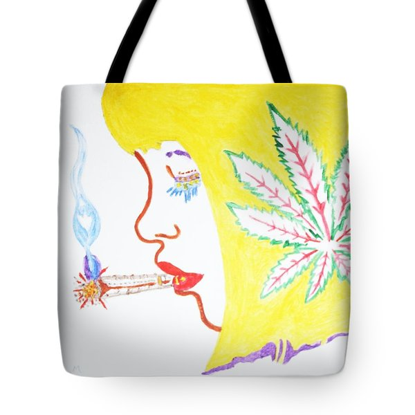 Tote Bag featuring the painting Smoking Blonde by Stormm Bradshaw