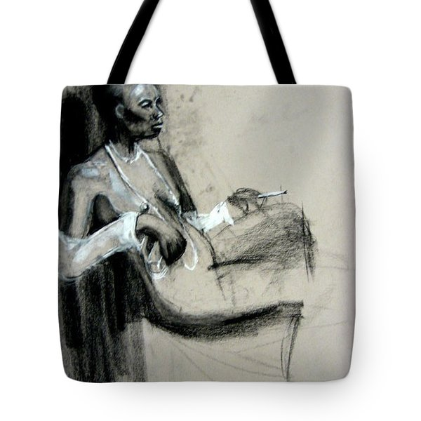 Tote Bag featuring the drawing Smoking by Gabrielle Wilson-Sealy