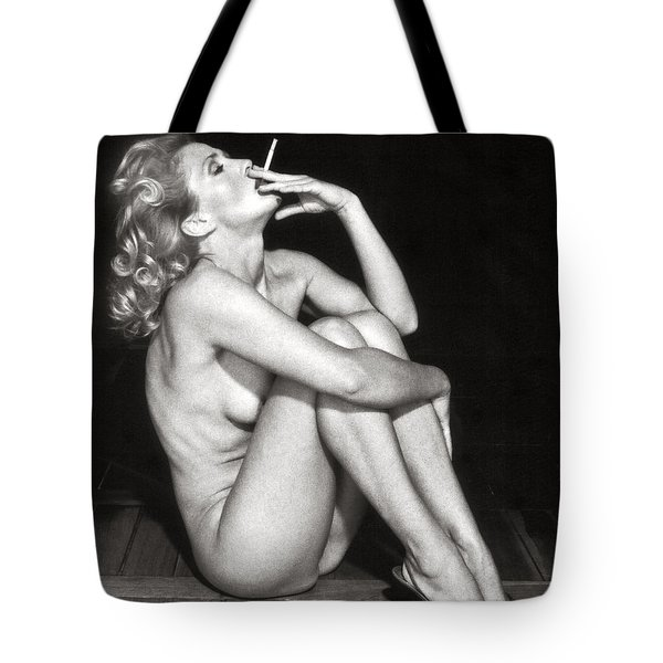 Tote Bag featuring the photograph Smoking Nude  by Silva Wischeropp