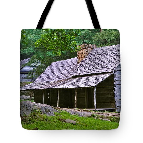 Smoky Mountain Cabins Tote Bag by Frozen in Time Fine Art Photography