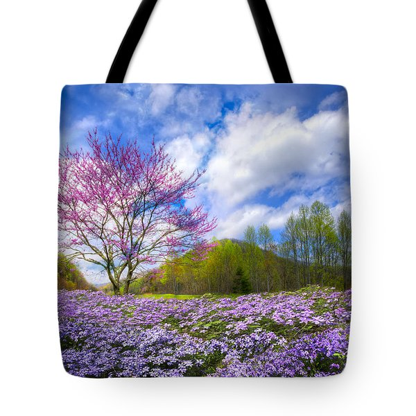 Smoky Mountain Spring Tote Bag by Debra and Dave Vanderlaan