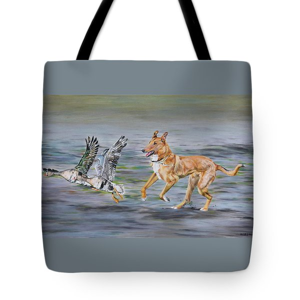 Smooth Collie Trying To Herd Geese Tote Bag