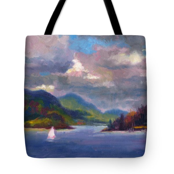 Smooth Sailing Sailboat On Alaska Inside Passage Tote Bag