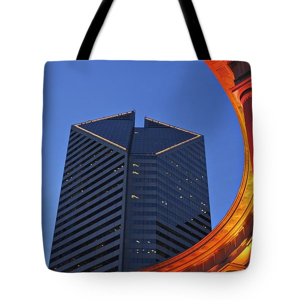 Smurfit-stone Building Behind  Wrigley Tote Bag by Axiom Photographic