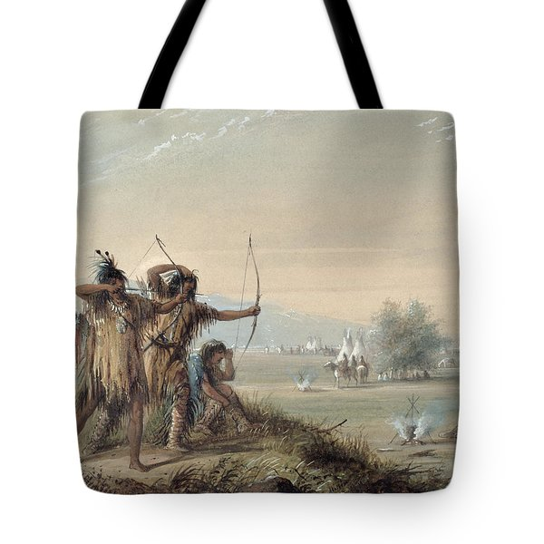 Snake Indians Testing Bows Tote Bag by Alfred Jacob Miller