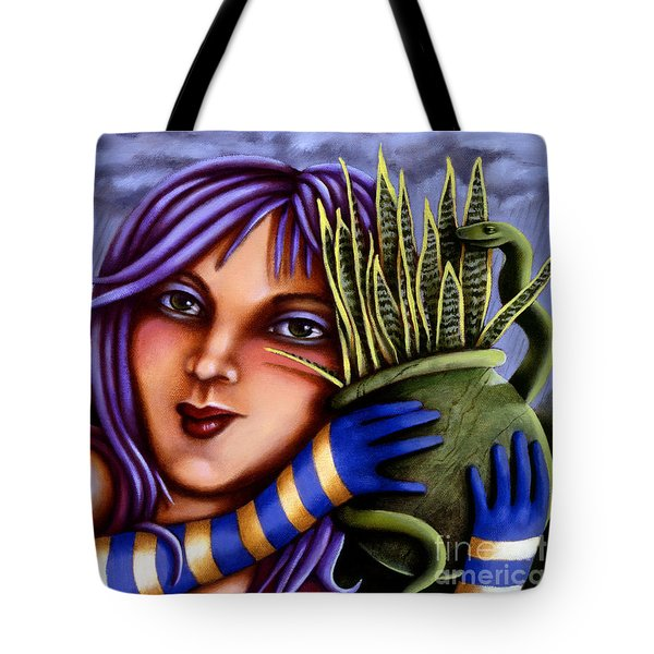 Tote Bag featuring the painting Snake Snakeplant by Valerie White