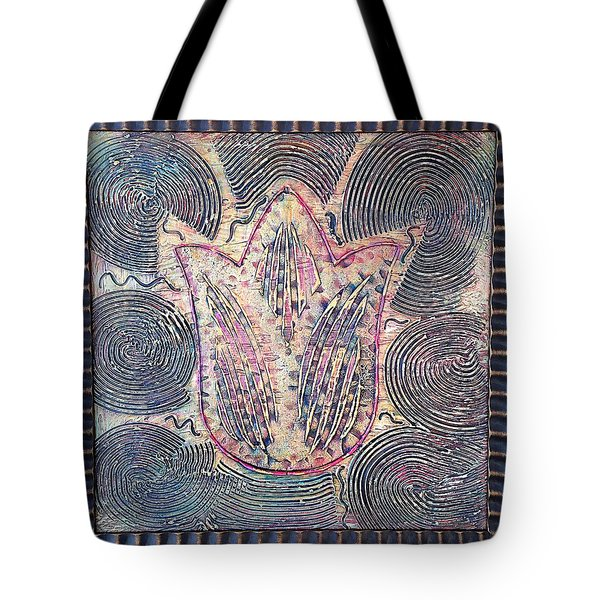 Snakes By The Tulip By Alfredo Garcia Art - Original Mixed Media Modern Abstract Tote Bag