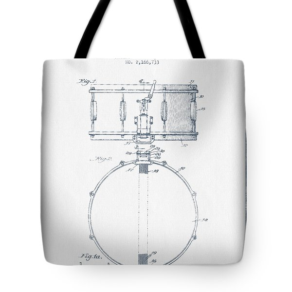 Snare Drum Patent Drawing From 1939 - Blue Ink Tote Bag by Aged Pixel