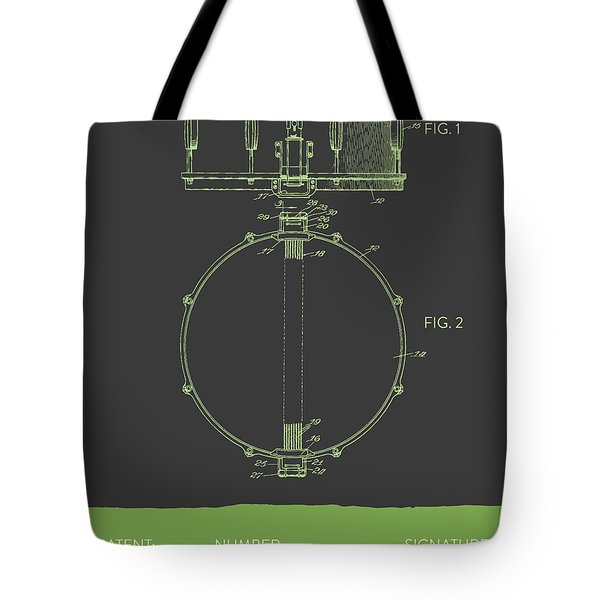 Snare Drum Patent From 1939 - Gray Green Tote Bag