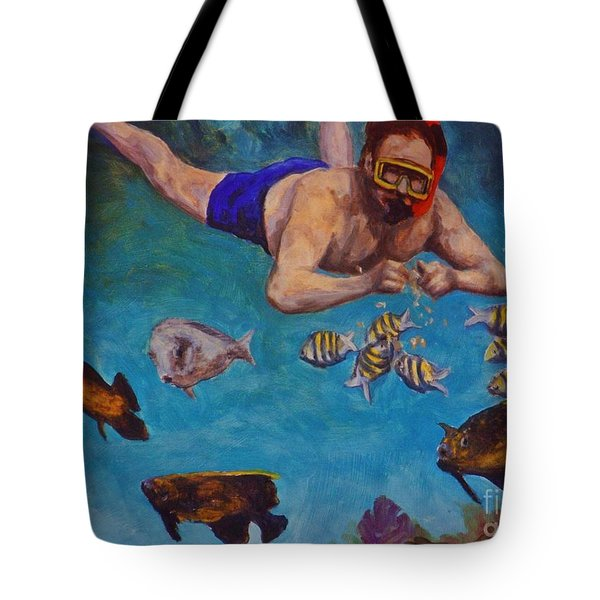 Snorkeling And Feeding The Fish Tote Bag