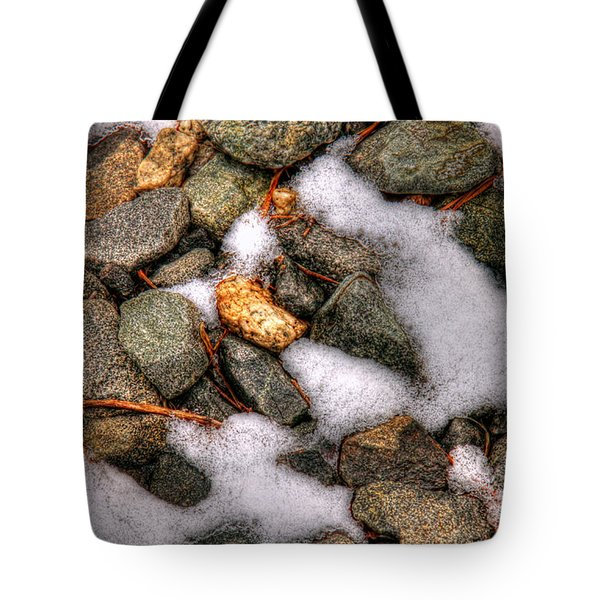 Snow Among The Rocks Tote Bag by Andy Lawless