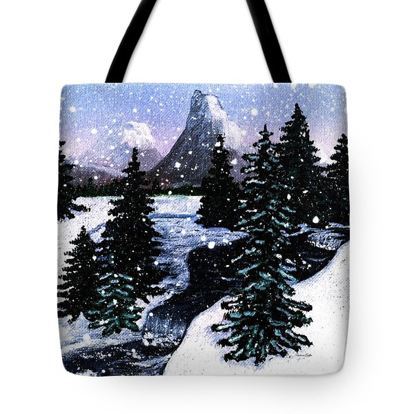 Snow And A Cold Mountain Brook Painterly  Tote Bag by Barbara Griffin