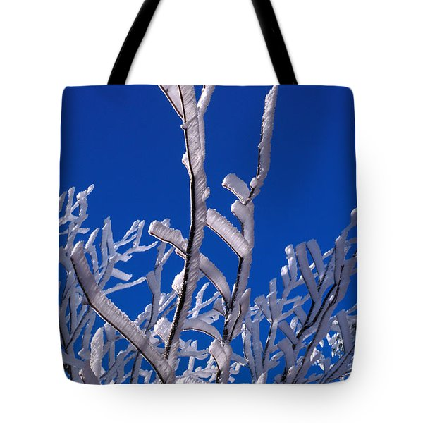 Snow And Ice Coated Branches Tote Bag