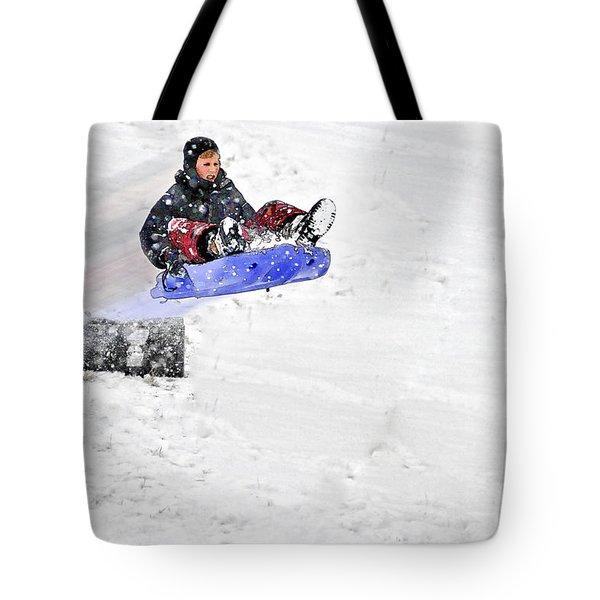 Snow And Kids Tote Bag by Dan Friend