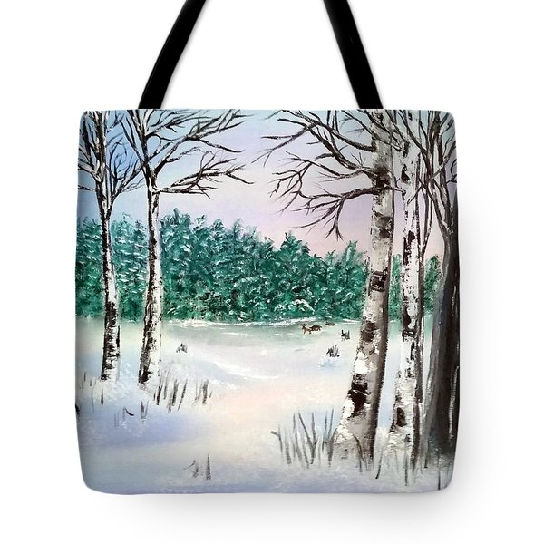 Snow And Trees Tote Bag