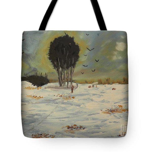 Tote Bag featuring the painting Snow At Christmas by Pamela  Meredith