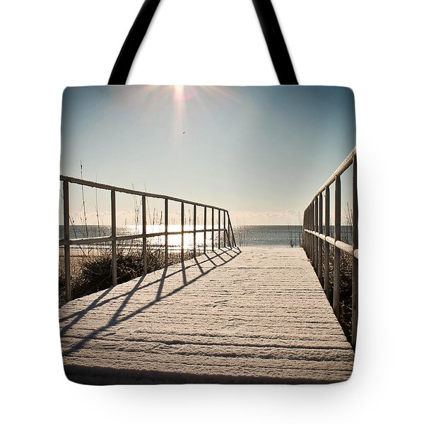 Snow At The Beach Tote Bag