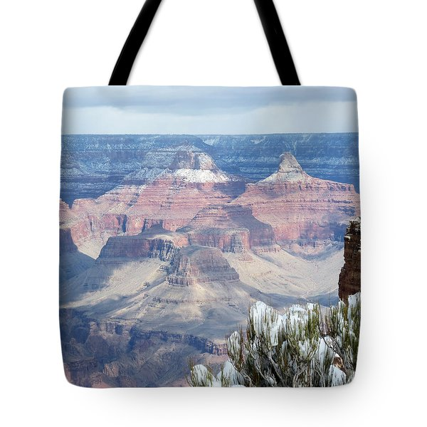 Snow At The Grand Canyon Tote Bag by Laurel Powell