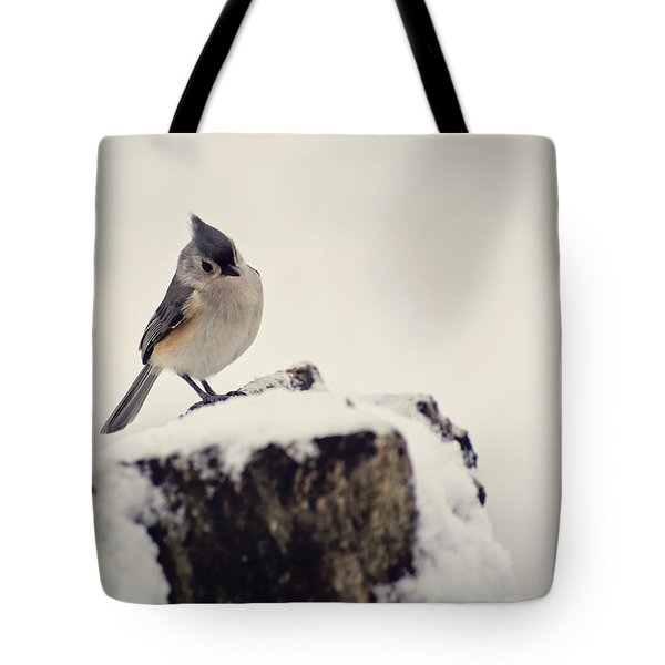 Snow Bird Tote Bag by Heather Applegate